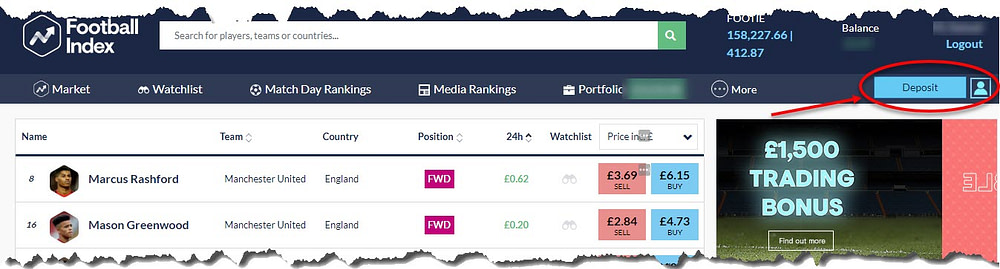 football index explained - making a deposit